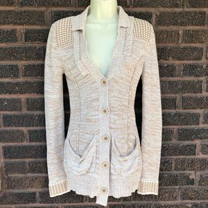 BKE Tan Button Up Knit Cardigan